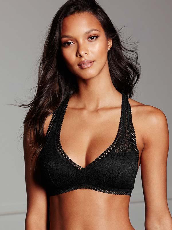 Sutien Victoria's Secret Racerback Bralette negru - model - vedere fata