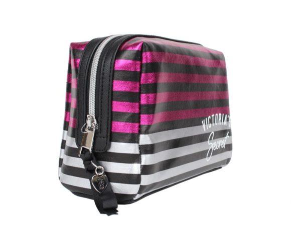Geanta cosmetice tip portfard Victoria's Secret Large Beauty Bag in dungi - laterala