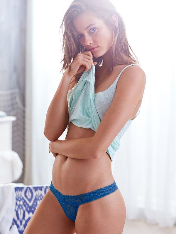 Chiloti dantela Victoria's Secret Lace Thong Panty blue - model 1