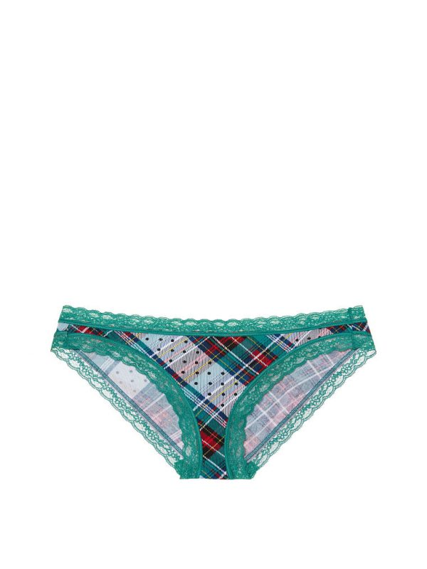 Chiloti dantela Victoria's Secret Thong-VS364070-CVE-GREEN PLAID